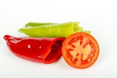 Rood en Groene paprika's Stock Fotografie