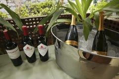 Rood en mousserende wijn klaar om bij een huwelijk te dienen stock foto's