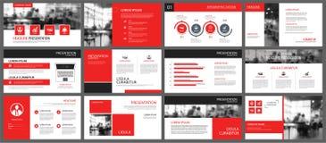 Rood en wit element voor dia infographic op achtergrond prese royalty-vrije illustratie