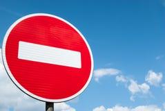 Rood en wit geen ingangsverkeersteken stock afbeeldingen