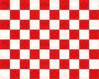 Rood en wit geruit patroon aan gebruik voor het traditionele ontwerp van Japan Stock Foto