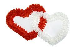Rood en wit hart Stock Foto