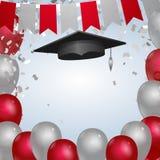 Rood en zilveren graduatiemalplaatje met GLB en ballons vector illustratie