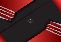 Rood en zwart abstract materieel ontwerp voor achtergrond, kaart, ann stock illustratie