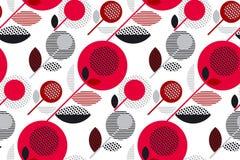 Rood en zwart jaren '60 bloemen retro patroon Stock Afbeeldingen