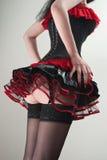 Rood en zwart korset en pluizige rok Royalty-vrije Stock Foto's