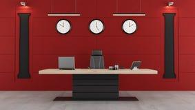 Rood en zwart modern bureau Stock Foto
