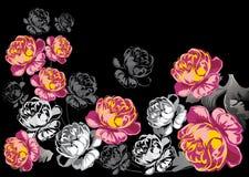 Rood en zwart rozenontwerp royalty-vrije illustratie