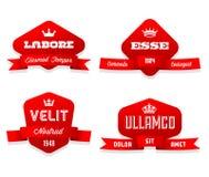 Rood etiket met lint Stock Foto's