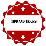 Rood etiket met UITEINDEN EN TRUCStekst stock illustratie