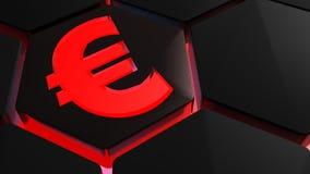 Rood Euro symbool op zeshoek - het 3D teruggeven Royalty-vrije Stock Fotografie