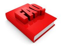 Rood FAQ-boek op witte achtergrond Stock Afbeelding