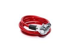 Rood fietsslot stock afbeelding