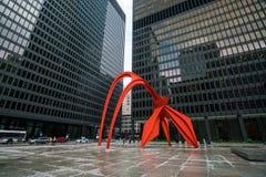 Rood Flamingobeeldhouwwerk in Chicago Stock Foto's
