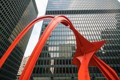 Rood Flamingobeeldhouwwerk in Chicago Royalty-vrije Stock Fotografie