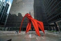 Rood Flamingobeeldhouwwerk in Chicago Royalty-vrije Stock Foto's