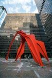 Rood Flamingobeeldhouwwerk in Chicago Stock Afbeelding