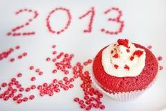 Rood fluweel cupcake Royalty-vrije Stock Fotografie