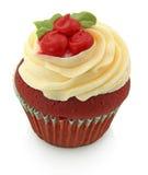 Rood Fluweel Cupcake Isoloated op Wit Royalty-vrije Stock Fotografie