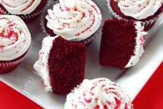 Rood Fluweel Cupcakes Royalty-vrije Stock Foto's