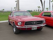 Rood Ford Mustang stelde in Chorrillos, Lima tentoon Stock Foto's