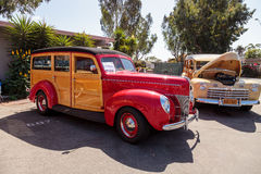Rood 1940 Ford Woody Royalty-vrije Stock Afbeelding