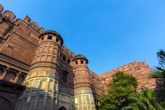 Rood Fort in Agra, Amar Singh Gate, India, Uttar Pradesh Stock Foto's