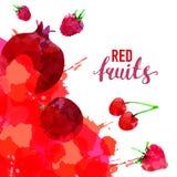 Rood Fruit geplaatst getrokken waterverfvlekken en vlekken met een nevelaardbei, framboos, granaatappel, kers, rode applecherry,  royalty-vrije stock fotografie
