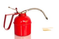 Rood Geïsoleerd olieblik, het Knippen wegen Royalty-vrije Stock Afbeelding