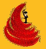Rood-geel beeld van flamenco Stock Foto