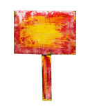 Rood geel houten die teken, op wit wordt geïsoleerd Stock Foto