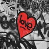 Rood geschilderd hart Stock Fotografie