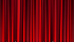Rood gesloten gordijn in een theater of ceremonie voor uw ontwerp Gedrapeerde Theatrale die scène op wit wordt geïsoleerd Vector stock illustratie