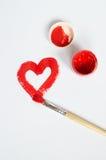 Rood getrokken hart Stock Foto's