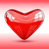 Rood Glanzend Hart Royalty-vrije Stock Afbeelding