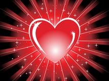 Rood glanzend hart met stralen, illustratie Stock Afbeeldingen