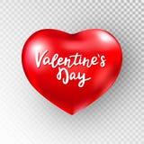 Rood glanzend hart op transparante achtergrond De kaart van de valentijnskaartendag met rood hart, schittert confettien en hand h royalty-vrije illustratie