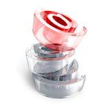 Rood glas bij e-mailpictogramsymbool op witte achtergrond Royalty-vrije Stock Afbeeldingen