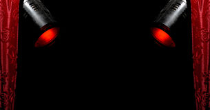 Rood gordijn & rode schijnwerpers 2 Royalty-vrije Stock Afbeelding