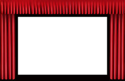 Rood gordijn. Het lege bioskoopscherm Stock Foto's