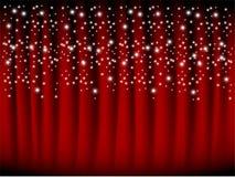 Rood gordijn met dalende sterren Vector Illustratie