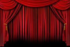 Rood Op Het Gordijn Van Het Theater Van Het Stadium Stock ...