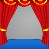 Rood gordijn met met gouden strepen Royalty-vrije Stock Foto