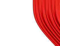 Rood gordijn op theater of bioskoopstadium lichtjes open over wit stock afbeeldingen