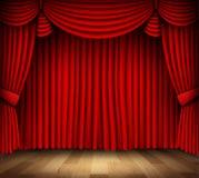 Rood gordijn van klassiek theater met houten vloer Royalty-vrije Stock Afbeeldingen