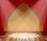 rood gordijn voor bakstenen muur en houten vloer met verlichting stock foto
