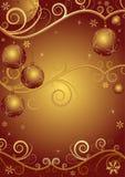 Rood-gouden Kerstmisframe Stock Afbeeldingen