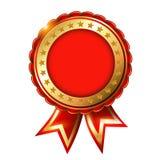 Rood Gouden leeg etiket met sterren Stock Foto