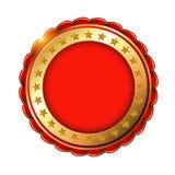 Rood Gouden leeg etiket met sterren Stock Afbeelding