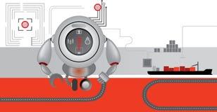 Rood-grijze logistiekpictogrammen robot Het leveren van lading Stock Afbeelding
